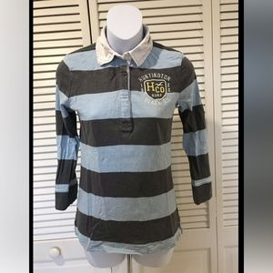 Hollister Multicolor Striped Long Sleeve Polo Top
